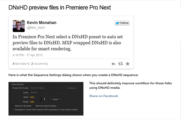 Premiere Pro Next includes full support for Avid DNxHD